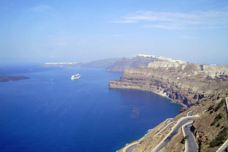 La caldera en Santorini